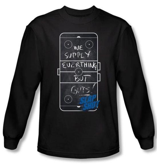 Slap Shot T-shirt Hockey Chalkboard Adult Black Long Sleeve Tee Shirt
