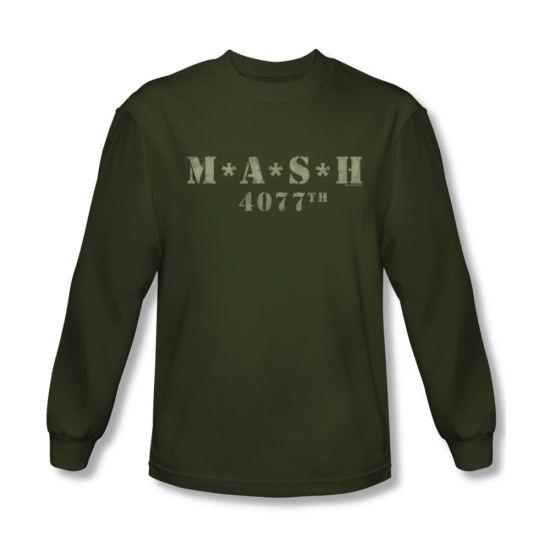 Mash shirt distressed logo long sleeve olive green t shirt