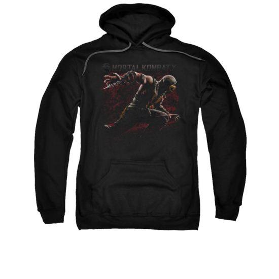 Mortal Kombat Hoodie Scorpion Lunge Black Sweatshirt Hoody