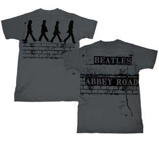 The Beatles Brick Road Charcoal Adult T-shirt Tee