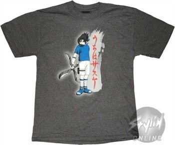 Naruto Sasuke Stance Gray T-Shirt