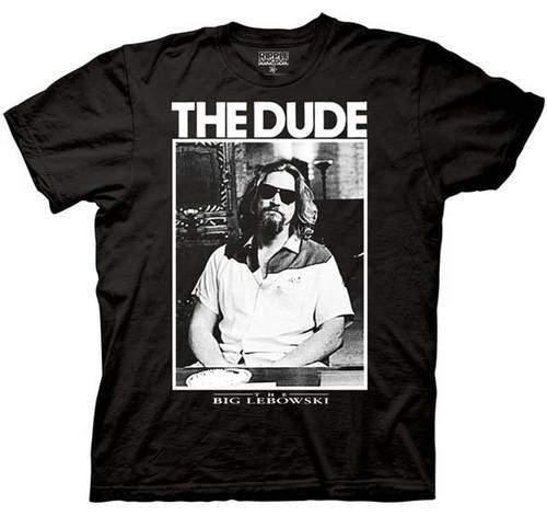 The Big Lebowski The Dude Photo Black Men's Adult T-shirt