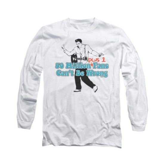 Elvis Presley Shirt 50 Million Fans Plus 1 Long Sleeve White Tee T-Shirt