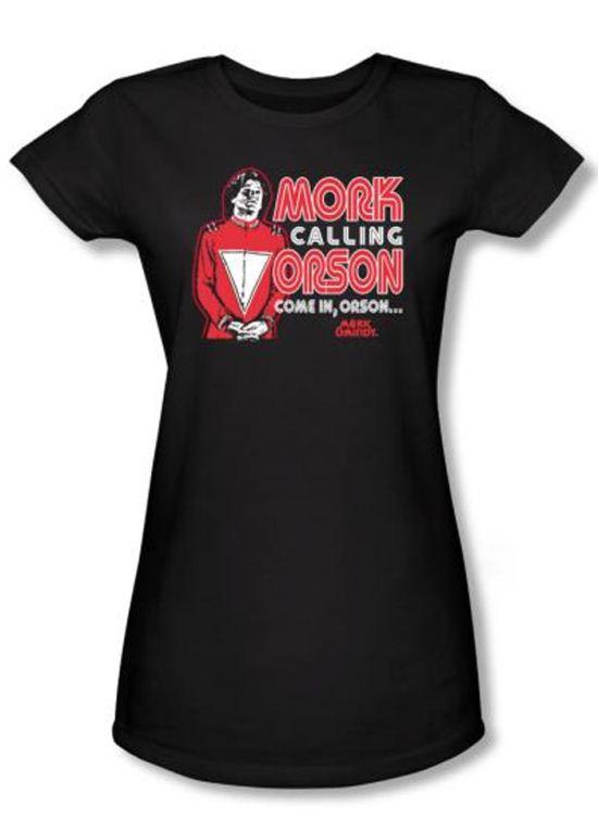 Mork and Mindy Juniors Shirt Mork Calling Orson Black T-Shirt