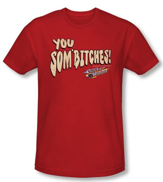 Smokey And The Bandit T-shirt Movie Sombitch Adult Red Slim Fit Shirt