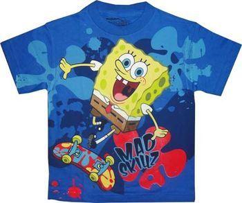 Spongebob Squarepants Mad Skillz Graphic Blue Youth T-shirt