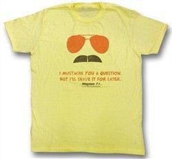 Magnum PI T-shirt Stache Logo Classic Adult Yellow Tee Shirt
