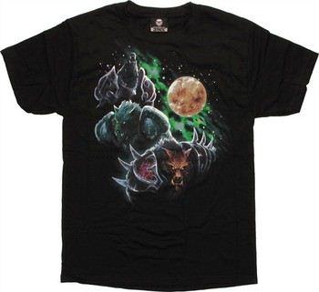 World of Warcraft Three Worgen Moon by Blizzard T-Shirt