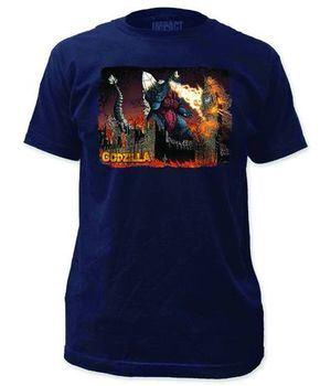 Godzilla Space Godzilla Previews Exclusive Lt Navy T-Shirt