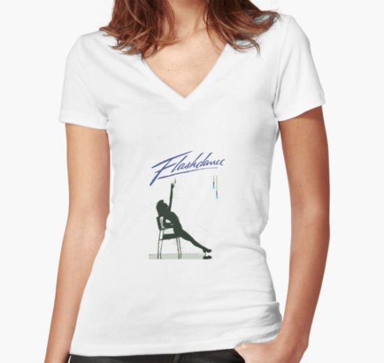 Iconic Scene in Flashdance Women's Fitted V-Neck T-Shirt by KLoscko T-Shirt