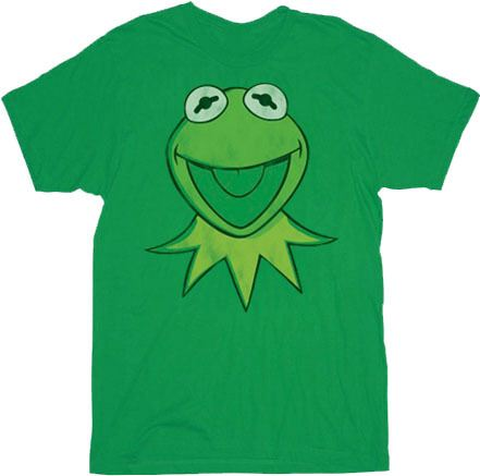 The Muppets Kermit Face Green Adult T-shirt