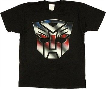Transformers Autobot Logo Color on Black T-Shirt Sheer