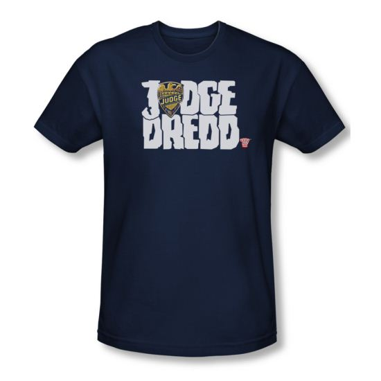 Judge Dredd Shirt Slim Fit Logo Navy T-Shirt