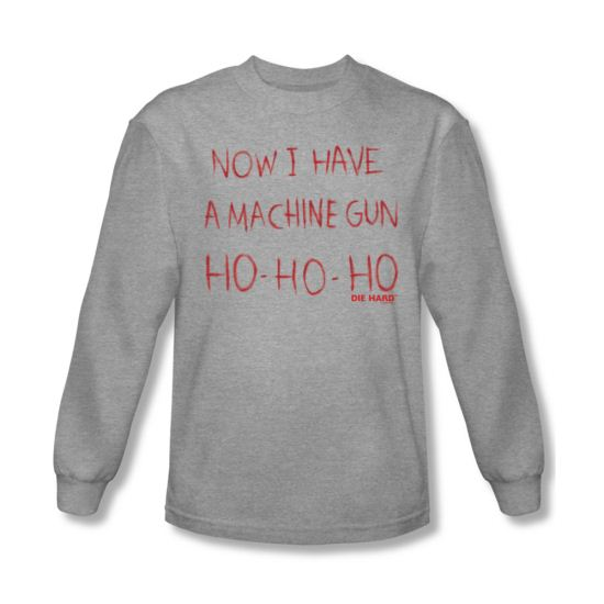 Die Hard Shirt Machine Gun Long Sleeve Athletic Heather Tee T-Shirt
