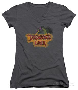 Juniors: Dragon's Lair - Dragon Logo V-Neck