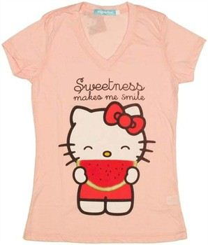 Hello Kitty Sweetness Makes Me Smile Watermelon Baby Doll Tee by MIGHTY FINE