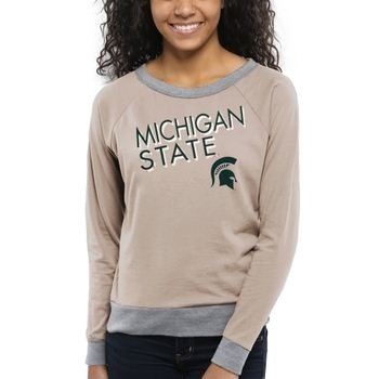 Michigan State Spartans Women's Crazy Love Boat Neck Long Sleeve T-Shirt – Cream