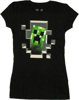 Minecraft Creeper Peeking From Inside Baby Doll Tee