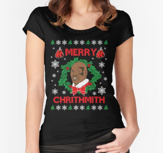 Mike Tyson Merry Chrithmith!!! Women's Fitted Scoop T-Shirt by twistedimagetee T-Shirt