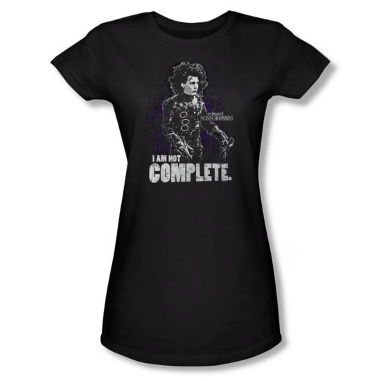 Edward Scissorhands Shirt Juniors Not Complete Black Tee T-Shirt