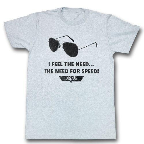 Top Gun I Feel The Need For Speed Heather Gray Adult T-shirt
