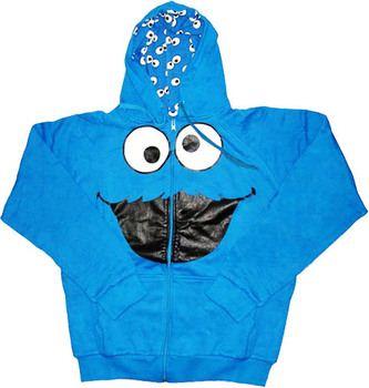 Cookie Monster Face Sesame Street Reversible Hoodie
