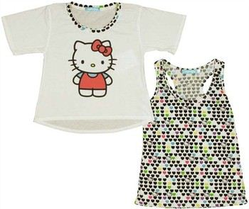Hello Kitty Hearts Tank Top and Ladies Tee Combo by MIGHTY FINE