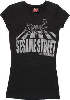 Sesame Street Cross the Road Black and White Baby Doll Tee