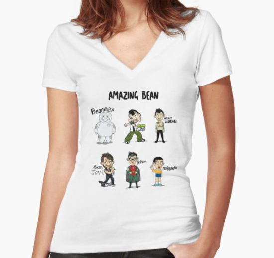 Amazing Bean Women's Fitted V-Neck T-Shirt by likkwa T-Shirt