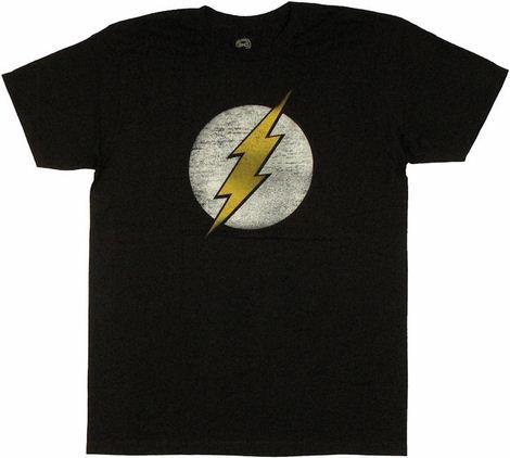 Flash Vintage Logo Black T Shirt Sheer