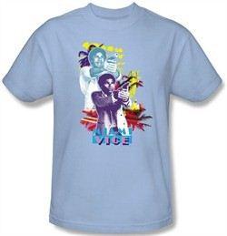 Miami Vice T-shirt Tubbs Freeze Adult Light Blue Tee Shirt