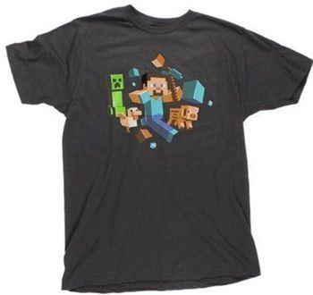 Minecraft Game Steve Run Away! Creeper Glow in the Dark Adult Black T-Shirt