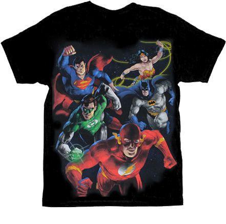 DC Comics Painted DC Group Black Mens T-shirt