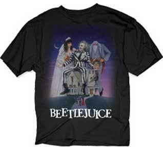 Beetlejuice Sitting on House Image Adult Black T-Shirt