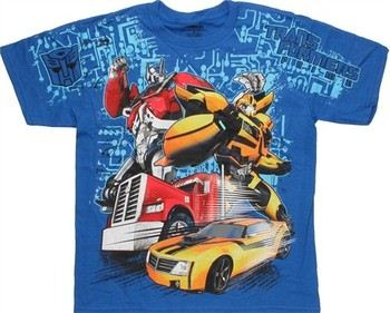 Transformers Prime Autobot Duo Optimus Prime Bumblebee Full Front Print Youth T-Shirt