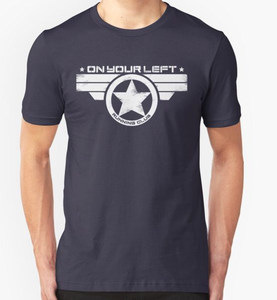 "'""On Your Left Running Club"" Distressed Print 2' T-Shirt by coldbludd T-Shirt"