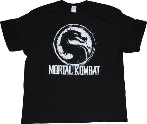 Mortal Kombat Tournament Chalk Logo Adult Black T-shirt