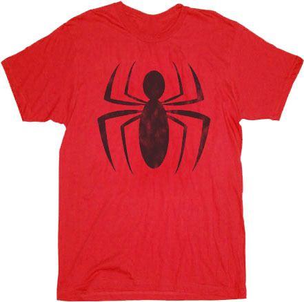 Spider-Man Ink Red Spider Distressed Logo Adult T-shirt