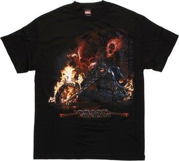 Ghost Rider Flaming Bike Black T-Shirt