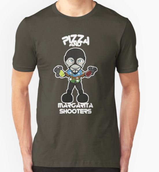 Pizza and Margarita Shooters T-Shirt by RhiMcCullough T-Shirt