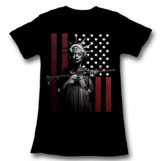 Marilyn Monroe Shirt Juniors AR-15 Black T-Shirt