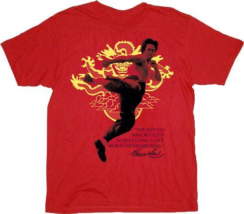 Bruce Lee Immortal Dragon Key Red Adult T-shirt