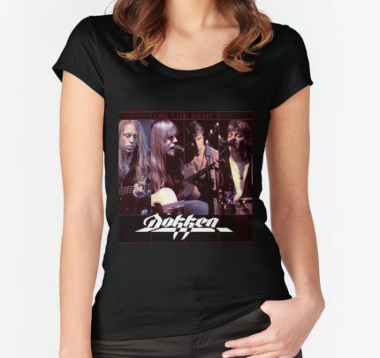 Dokken One Live Night Women's Fitted Scoop T-Shirt by Carter Mould T-Shirt