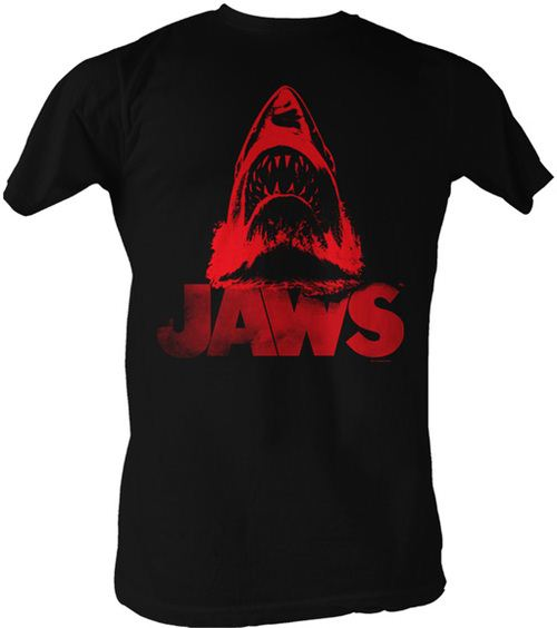 Jaws Red J Distressed Black Adult T-shirt