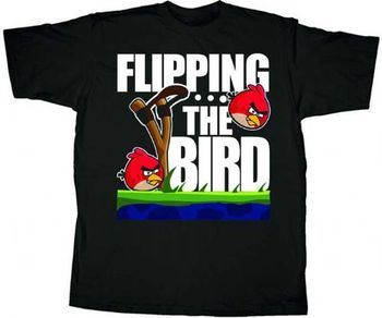 Angry Birds Flip the Bird Black Adult T-shirt