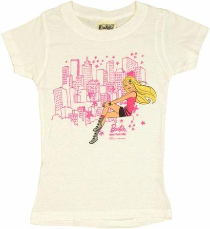 Barbie Sitting NYC White Youth Girls T Shirt