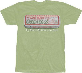 Dr. Seuss Sam's Farms Green Eggs and Ham Light Green Adult T-shirt