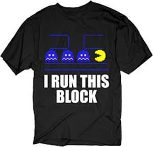 Pac-Man I Run This Block Adult Black T-shirt