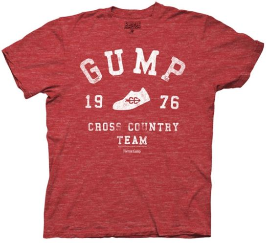 Forrest Gump T-shirt Movie Cross Country Adult Red Heather Tee Shirt