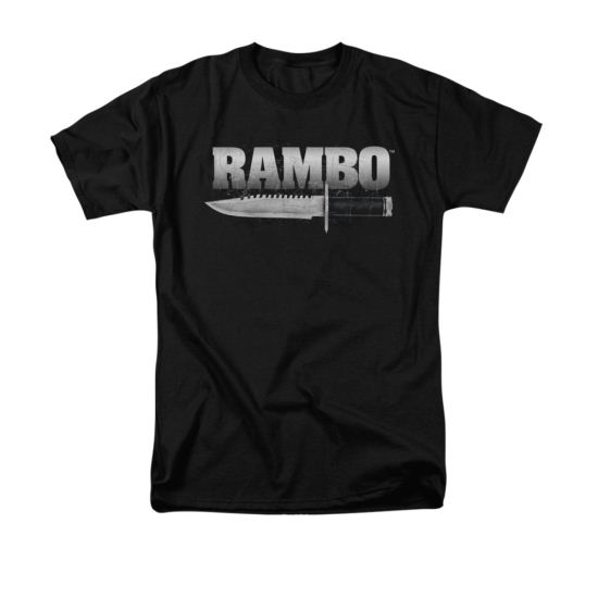 Rambo First Blood Shirt Knife Adult Black Tee T-Shirt